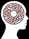 Radial Maze Circular Brain Puzzle in a Head Royalty Free Stock Photo