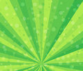 Radial speed lines. Abstract background with gentle green rays, stripes. Background with falling confetti pieces, bokeh Royalty Free Stock Photo
