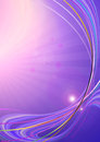 Radiant purple background covered iridescent curved lines and flares with bright curves with rays Stock Photography