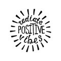 Radiate positive vibes. Inspirational quote about happy. Royalty Free Stock Photo