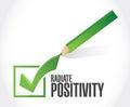 Radiate positivity check mark sign concept illustration design over white Royalty Free Stock Image