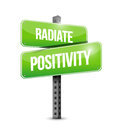 Radiate positivity road sign concept illustration design over white Royalty Free Stock Image