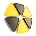 Radiation alert sign emblem symbol isolated made of glossy yellow and black triangles on white Royalty Free Stock Photo