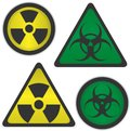Radiation and bio hazard vector symbols of Stock Image