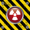 Radiation button over lines background vector illustration Royalty Free Stock Photography