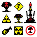 Radiation hazard set vector icons of and nuclear weapons Stock Images