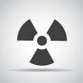 Radiation icon with shadow on a gray background. Vector illustration