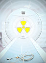 Radiation in medicine sign of radioactivity medical ct scanner Stock Images