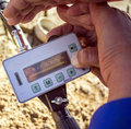 Radiation monitoring in industrial areas in the steppes of southern kazakhstan Stock Photo