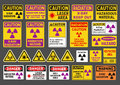 Radiation signs vector pack of differents nuclear Stock Photography