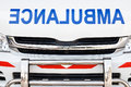 Radiator bonnet of ambulance ( reverse alphabet ) Royalty Free Stock Photo