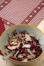 Radicchio salad, walnuts, pears and flaked Parmesan