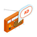 Radio advertising icon, isometric 3d style Royalty Free Stock Photo