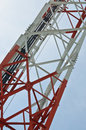 Radio antenna tower structure against sky Stock Photos