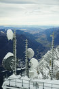 Radio antennae and on Zugspitze Royalty Free Stock Photo