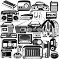 Radio and cassette black icons vector illustration of different Royalty Free Stock Photography