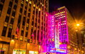 Radio City Music Hall at night, in Rockefeller Center, Manhattan Royalty Free Stock Photo