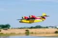 Radio controlled model hydroplane  flying Royalty Free Stock Photo