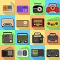 stock image of  Radio icons set, flat style