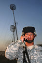 Radio operator with antennas Royalty Free Stock Photos