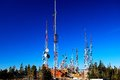 Radio telecommunication towers this shot was taken in central new mexico on top of the sandia crest elevation Royalty Free Stock Images