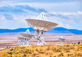 Radio telescope antenna dishes of the very large array in new mexico Royalty Free Stock Photo