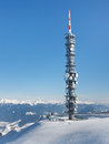 Radio Tower on a Mountain Summit Royalty Free Stock Photos
