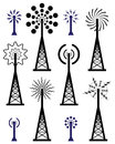 Radio tower and wave broadcast symbols and icons design of Stock Photo