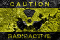 Radioactive background sign on old rusty metal barrel Royalty Free Stock Photos