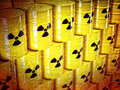 Radioactive barrel background of d yellow barel and sign Royalty Free Stock Photos