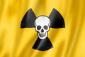 Radioactive nuclear symbol death flag three dimensional render satin texture Stock Photos