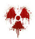 Radioactive symbol blood splatter Royalty Free Stock Images