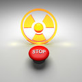 Radioactive symbol in a yellow and red color Royalty Free Stock Image