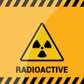 Radioactive zone, vector sign or symbol. Warning radioactive zone in triangle icon isolated on yellow background with stripes. Rad Royalty Free Stock Photo
