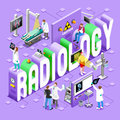 Radiology concept isometric imaging healthcare clinic hospital departments symbols and people new bright palette d flat vector Stock Photography
