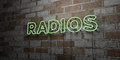 RADIOS - Glowing Neon Sign on stonework wall - 3D rendered royalty free stock illustration