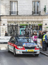 Radioshack team car paris nice prologue in houilles france march rd the accompanying leopard for the cyclist monfort the streets Royalty Free Stock Photos