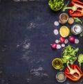 Radish lemon arugula lettuce pepper salt seasoning various stacked vertically border banner fruits vegetables space for text o