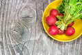 Radish on the plate wood table Stock Photo