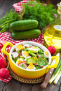 Radish salad with cucumbers and eggs Royalty Free Stock Images