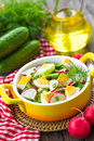 Radish salad with cucumbers and eggs Stock Photography