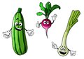 Radish zucchini and onion vegetables in cartoon style for bio food design Royalty Free Stock Photography