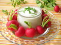 Radishes with yoghurt and chives Royalty Free Stock Image