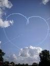 RAF Red Arrows display team in flight Royalty Free Stock Photo