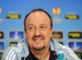 Rafa benitez of chelsea press conference former manager london pictured during held before the europa league game between steaua Royalty Free Stock Photo
