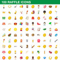 100 raffle icons set, cartoon style