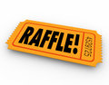 Raffle ticket word enter contest winner prize drawing on orange for you to to win a for a cash or other award Royalty Free Stock Photos