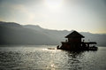Raft house floating in the dam Royalty Free Stock Photo