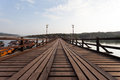 Raft house village floating and wooden bridge Stock Images