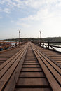 Raft house village floating and wooden bridge Royalty Free Stock Photography